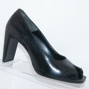 Nine West Dulcet black leather square heels 5.5M